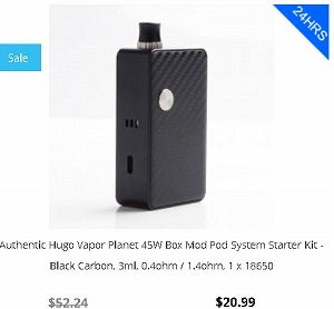 3fvape クーポン Authentic Hugo Vapor Planet 45W Box Mod Pod System Starter Kit - Black Carbon, 3ml, 0.4ohm / 1.4ohm, 1 x 18650